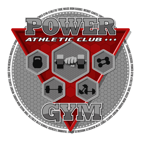Emblem of the gym. Sports equipment on the background of a red triangle. Illustration