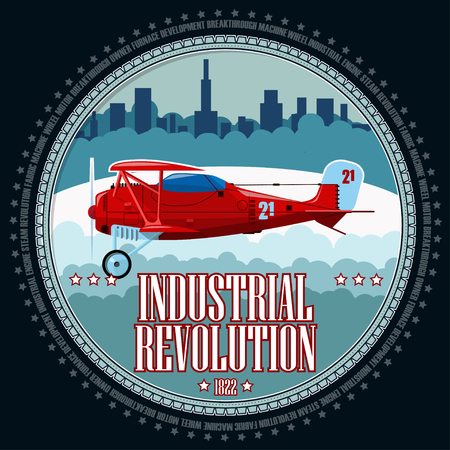 T-shirt or poster illustration. Red airplane on the background of an industrial landscape. Background and text are located on separate layers. Illustration