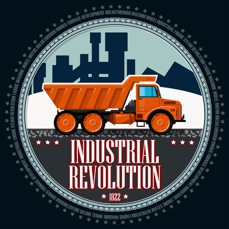 T-shirt or poster illustration. Orange truck on the background of an industrial landscape. Background and text are located on separate layers.