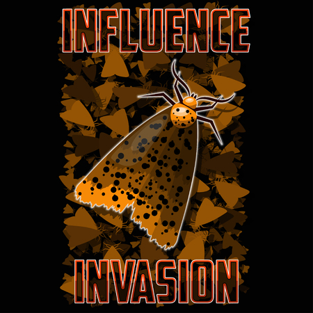 T-shirt or poster illustration. Moth against the background of swarming insects. Background and text are located on separate layers.