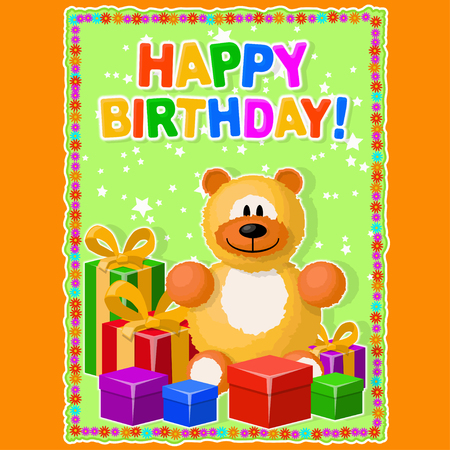 Greeting card or poster. Soft toy and gifts on a festive background. Items, inscription and background are located on separate layers.