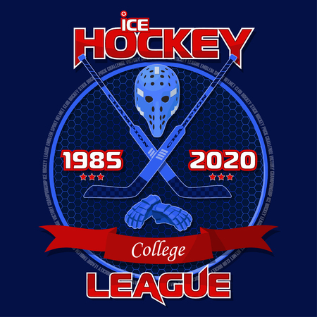 Emblem of the hockey league on a blue background with a red ribbon. Background and text are located on separate layers.