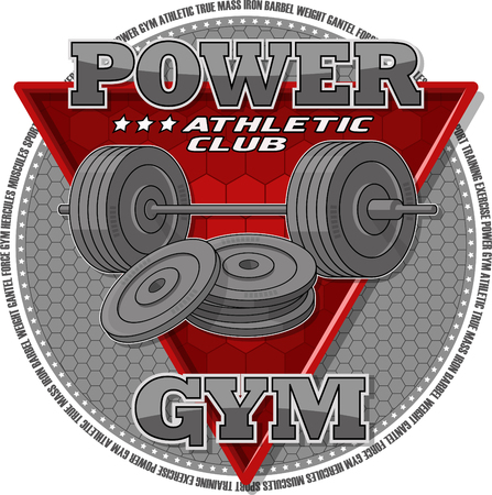 Emblem of the gym. Sports equipment on the background of a red triangle. Vector illustration. Иллюстрация