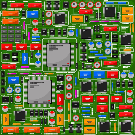 Pattern of the electric board, with electronic components. All electronic components are located in separate groups and easily manipulated.