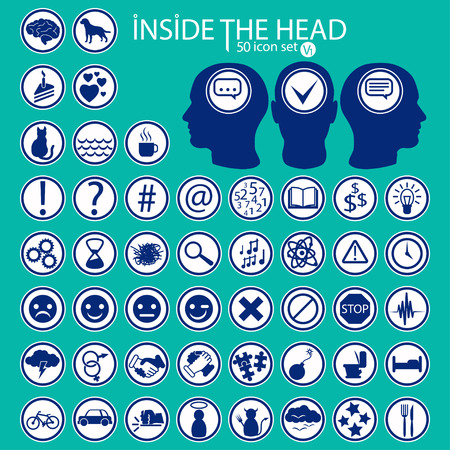 Inside The Heads. 50 icon set imitating feelings, emotions, thoughts and moods.