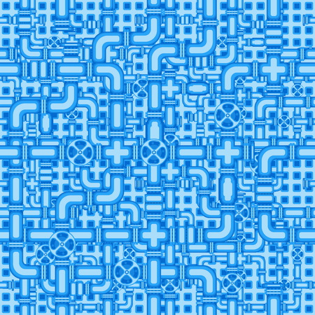Seamless pattern with the image of valves, and interlacing of pipes, for use as a background and other purposes. Ilustração