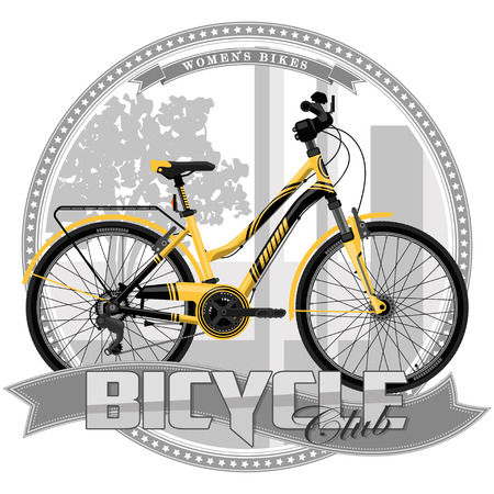 A bicycle of a certain type, on a symbolic background. Bicycle, text and background are located on separate layers.
