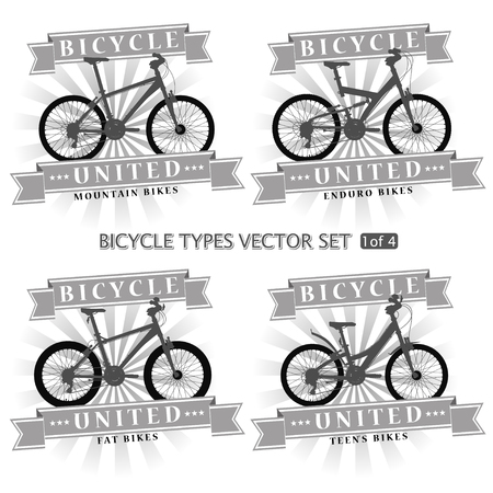 Types of bicycles in the form of silhouettes. Bikes are located on separate layers and can be used without framing.
