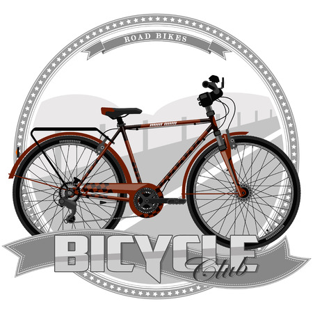 Una bicicleta de cierto tipo, sobre un fondo simbólico. La bicicleta, el texto y el fondo se encuentran en capas independientes.