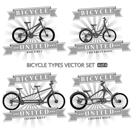 Types of bicycles in the form of silhouettes. Bikes are located on separate layers and can be used without framing. Ilustração