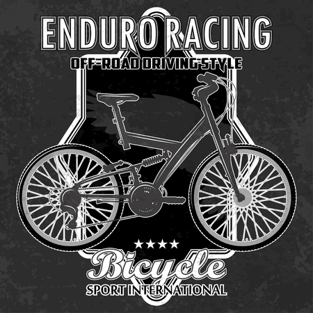 Bike emblem with grunge elements. The text and the bicycle are located on separate layers. Cracks and abrasions can be disabled.