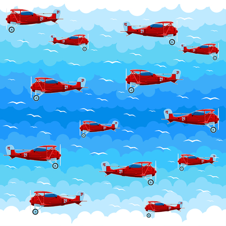 Planes against the background of clouds. Seamless pattern. All elements are located on different layers and can be easily disabled. Illustration