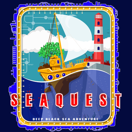 Sailboat on the background of the island with a tree and a lighthouse. Emblem with electromechanical elements. Background, text and water are located on separate layers and can be easily disabled.
