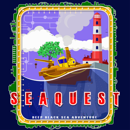 Steamship on the background of the island with a tree and a lighthouse. Emblem with electromechanical elements. Background, text and water are located on separate layers and can be easily disabled. Banco de Imagens - 104170608