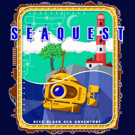 Submarine on the background of the island with a tree and a lighthouse. Emblem with electromechanical elements. Background, text and water are located on separate layers and can be easily disabled.
