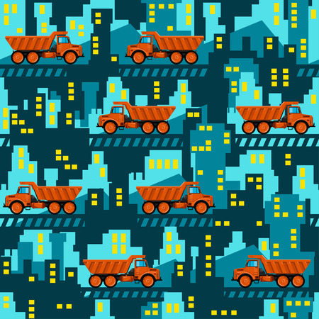Dumper trucks on the background of industrial buildings. Seamless pattern. All elements are located on different layers and can be easily disabled.
