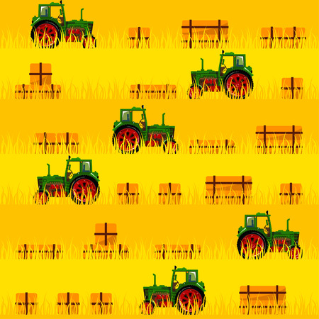 Tractor in the field. Seamless pattern. All elements are located on different groups and can be easily disabled.