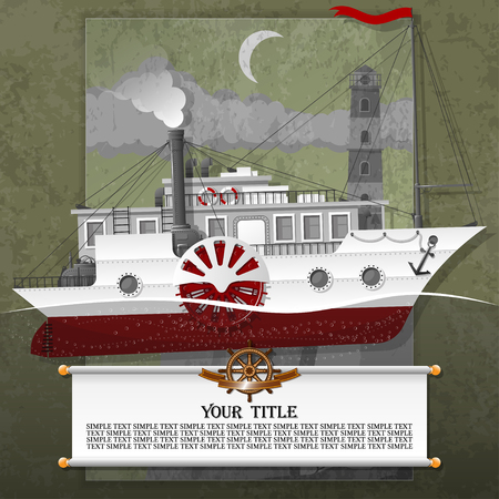 Barco de vapor en la tarjeta, con elementos steampunk, grunge y vintage. Todos los elementos están ubicados en diferentes capas y se pueden manipular fácilmente.