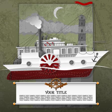 Dampfschiff in der Karte, mit Steampunk-, Grunge- und Vintage-Elementen. Alle Elemente befinden sich auf verschiedenen Ebenen und können leicht manipuliert werden.