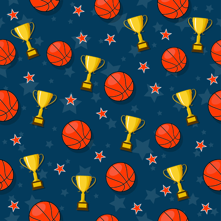 The seamless pattern on the basketball theme. 向量圖像