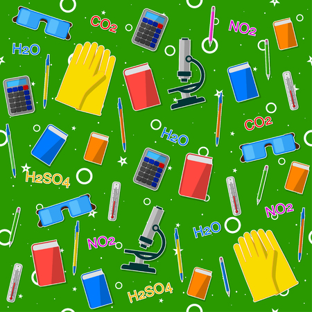Seamless pattern on the chemistry school theme. All elements are located on different layers and can be easily manipulated.