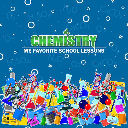 Illustration on the chemistry school theme. All elements are located on different layers and can be easily manipulated. Illustration