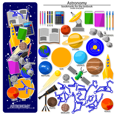 Creation on the astronomy school theme. All elements are located on different layers and can be easily manipulated. Illustration