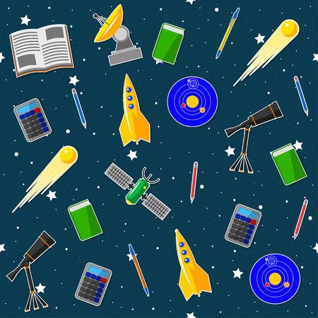 Seamless pattern on the astronomy school theme. All elements are located on different layers and can be easily manipulated. Illustration