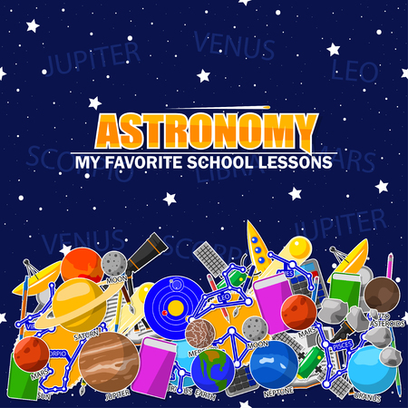 Illustration on the astronomy school theme. All elements are located on different layers and can be easily manipulated. Illustration
