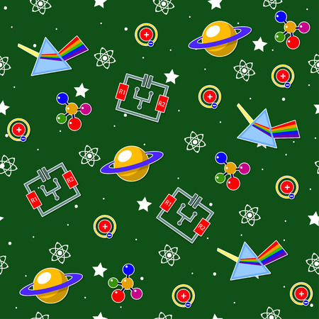 Seamless pattern on the physics school theme. All elements are located on different layers and can be easily manipulated.