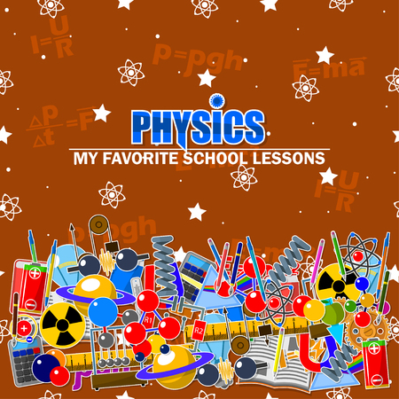 Illustration on the physics school theme. All elements are located on different layers and can be easily manipulated.