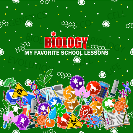 Illustration on the biology school theme. All elements are located on different layers and can be easily manipulated. Illustration