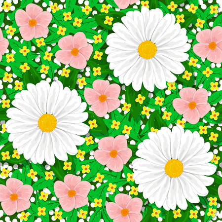 Seamless floral pattern. Flowers, leaves, grass, buds. For decoration, banners and other purposes.