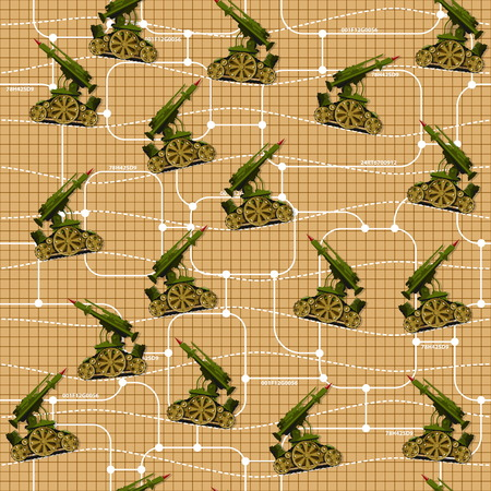 Military unit on a grid background. Seamless pattern.
