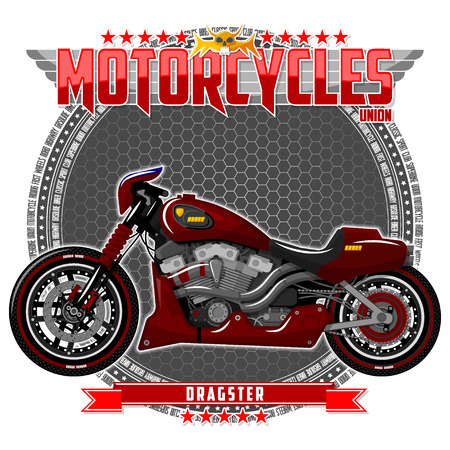 Motorcycle of a certain type, on a symbolic background. Motorcycle text and background are located on separate layers. Illustration