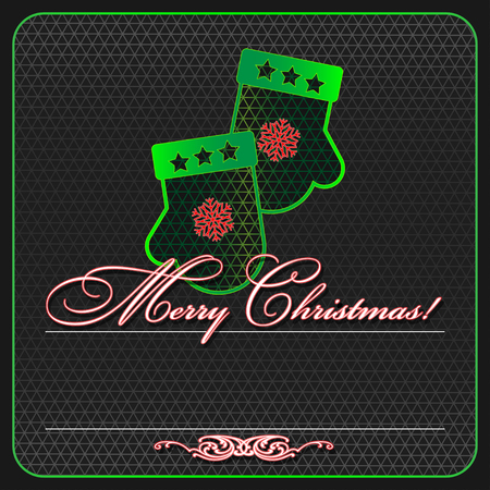 Greeting card for christmas. Neon and grid. Illustration