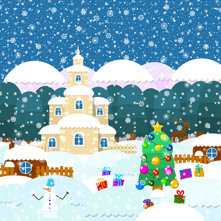 Illustration for christmas. Christmas tree, gifts, snowflakes. All elements are located on different layers and can be easily manipulated. Illustration