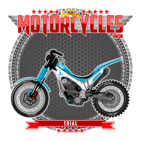Motorcycle of a certain type, on a symbolic background. Motorcycle text and background are located on separate layers. Vettoriali
