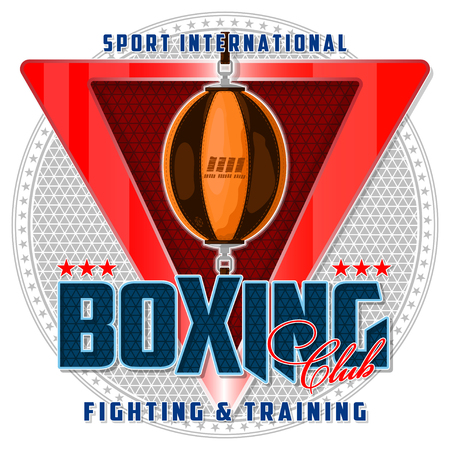Banner on the boxing theme. For decoration, print or advertising. Sports equipment, logo and background are located on separate layers. Illustration