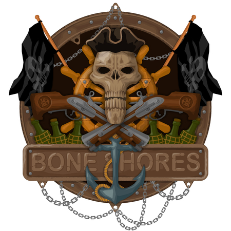 T-shirts illustration on the pirate theme. All elements are located on separate layers and easily manipulated. Illustration
