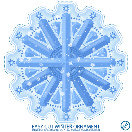 Winter snowflake pattern. Easy to cut and stick on a smooth surface. Use in the New Year's design. Vector Illustratie