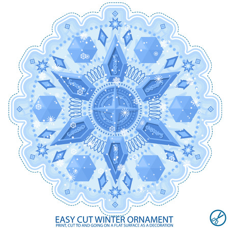 Winter snowflake pattern. Easy to cut and stick on a smooth surface. Use in the New Year's design.