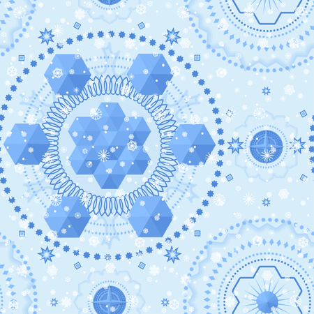 Winter crystal seamless pattern. For decoration, wrapping, print or advertising. Banco de Imagens - 113937979