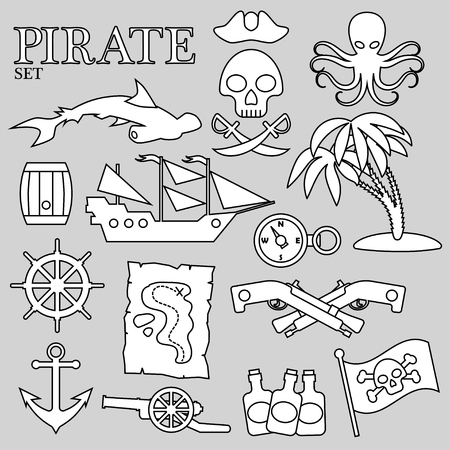Pirate contour set. For decoration, design, print or advertising.
