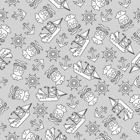 Seamless pattern on the pirates theme. For decoration, wrapping, print or advertising.