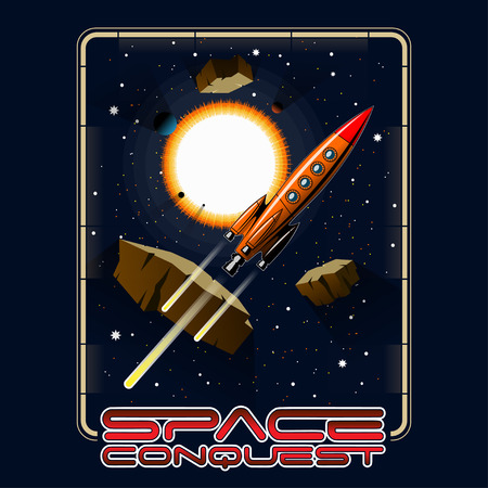 T-shirt or poster illustration. Space, stars, asteroids and rocket.