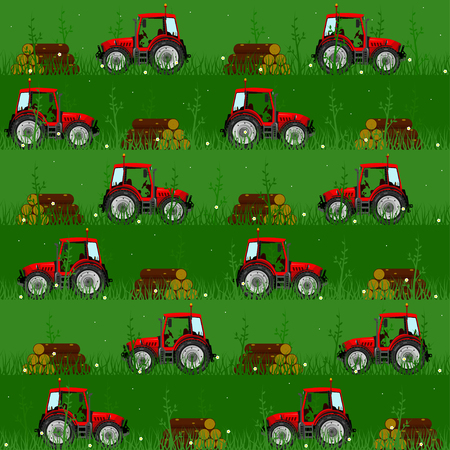 Seamless patterns with tractors. For decoration, wrapping, print or advertising. Banco de Imagens - 117175377
