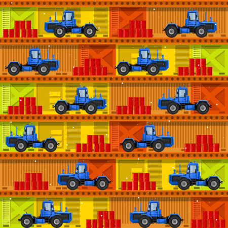 Seamless patterns with tractors. For decoration, wrapping, print or advertising. Banco de Imagens - 117175380