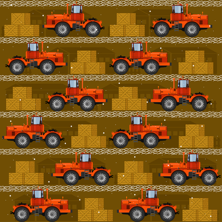 Seamless patterns with tractors. For decoration, wrapping, print or advertising.
