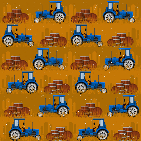 Seamless patterns with tractors. For decoration, wrapping, print or advertising. Banco de Imagens - 117175388